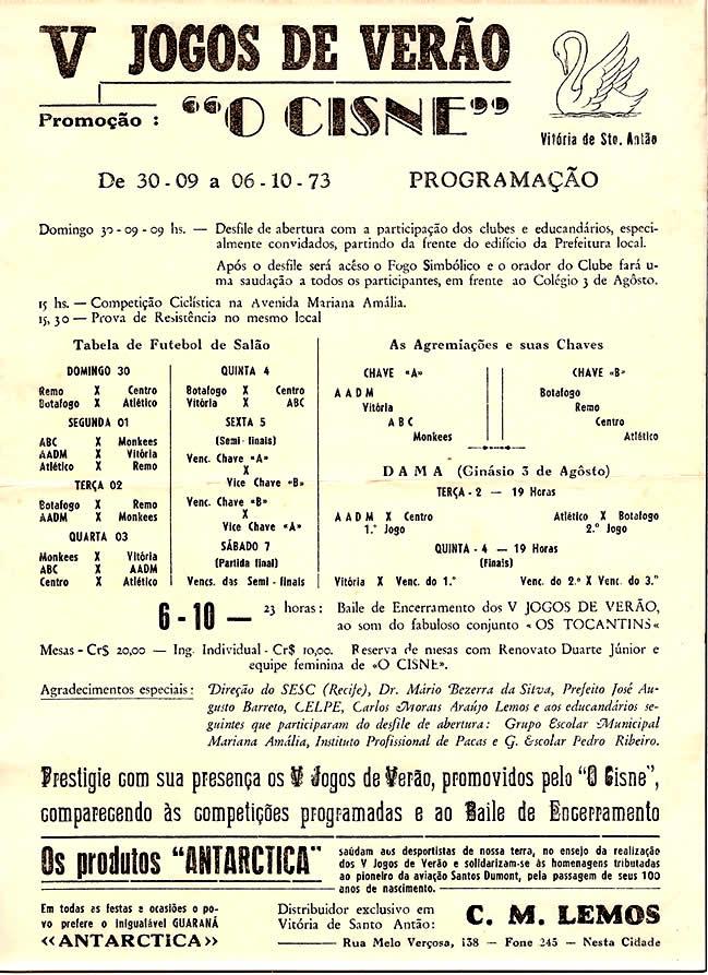 1973 PROG V JOGOS DE VERAO