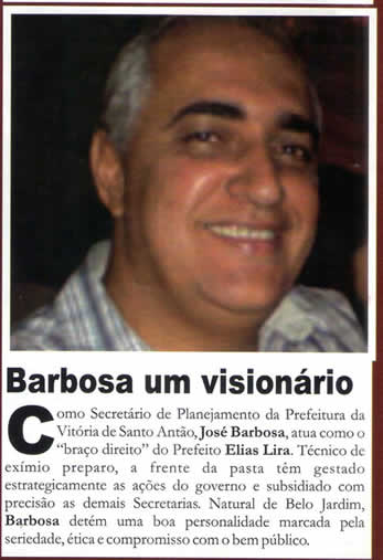 """""""BARBOSA"""" - Foto: REVISTA TOTAL - ED 38 - ANO 6 - 31 DE JULHO DE 2011"""
